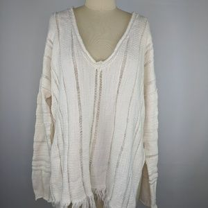Free People Ocean Drive Sweater Ivory Fringe